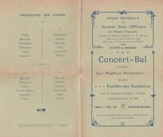 BOURGES PROGRAMME CARTONNER CONCERT BAL DES ANCIENS SOUS OFFICIERS ANNEE 1909 - Unclassified