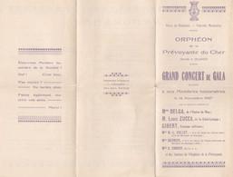BOURGES ORPHEON DE LA PREVOYANCE DU CHER PROGRAMME CONCERT GALA AVEC M DELGA DE NICE M ZUCCA GIBERT COLLET ANNEE 1927 - Unclassified