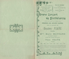 BOURGES CONCERT DE BIENFAISANCE ETRENNES AUX ENFANTS PAUVRES PROGRAMME AVEC E YSAYE ET M MAYRAND ANNEE 1906 - Unclassified