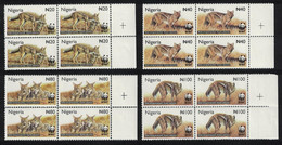 WWF Side-striped Jackal 4v Blocks Of 4 Nigeria 2003 MNH SG#809-812 MI#762-765 SC#759-762 - Perros