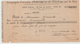 4267 Reçu 1948 Compagnie Du Gaz SEDAN Quartier Mac Donald Macdonald Mc DonalD Zorawski - 1900 – 1949