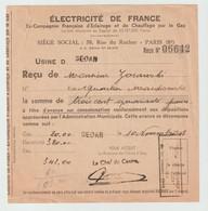 4267 Reçu 1948 Compagnie Electricité SEDAN Quartier Mac Donald Macdonald Mc DonalD Zorawski - 1900 – 1949