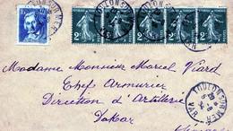 SEMEUSE CAMEE 2 CTS X 5 +  40 CTS JACQUARD DESTINATION DAKAR SENEGAL - 1906-38 Sower - Cameo