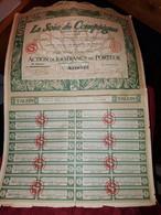 1 ACTION - LA SOIE DE COMPIEGNE  - 100 Francs Au Porteur -1923 - Industrie