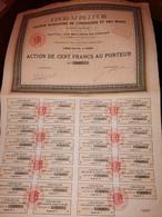 1 ACTION - INDUMINE  -Société Auxiliaire De L'Industrie Et Des Mines - 100 FRANCS -Titre De 1926 - Miniere