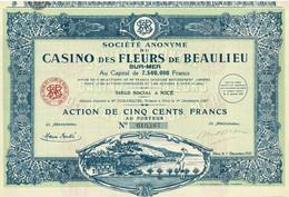 Titre Ancien - Société Anonyme Du Casino Des Fleurs De Beaulieu-sur-Mer -Titre De 1928 - Déco - - Casino'