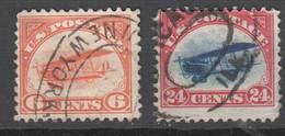 USA , 2 Flugpostmarken 1918 - Used Stamps