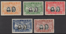 Costa Rica - Set Of 5 - The 100th Anniversary Of Central American Independence - Mi A91~E91 - 1921 - Costa Rica