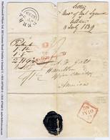 Ireland Transatlantic Canada Derry 1839 Letter To Hamilton Packet Rate FORWARDED From QUEBEC - Vorphilatelie