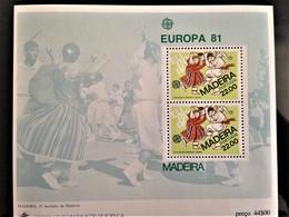 Portugal, Madeira, Uncirculated Souvenir Sheet, «Europa Cept», «Folklore», 1981 - 1981