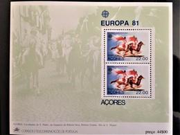 "Portugal, Azores, Uncirculated, Souvenir Sheet, «Europa Cept», ""Folklore"", 1981 - 1981"
