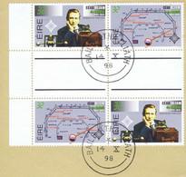 Ireland 1995 Marconi Radio 32p Se-tenant Gutter Block Of 4 (2 Pairs) Fine Used On Piece, Neat Dublin Cds - Ohne Zuordnung