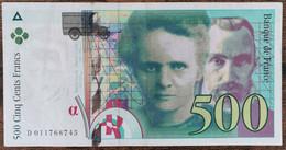Billet De 500 Francs Pierre Et Marie Curie 1994 FRANCE D011768745 - 500 F 1994-2000 ''Pierre Et Marie Curie''