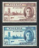 Victory World War II 2v Nigeria 1946 MNH SG#60-61 SC#71-72 - Emisiones Comunes