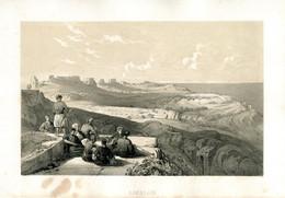 1847 Year Antique Print Holy Land Palestine Israel Ashkelon Arabs Jews - Estampes & Gravures