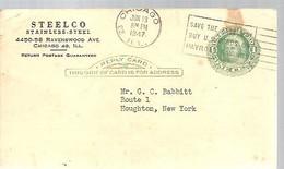 STATIONERY  1947  CHICAGO - 1941-60