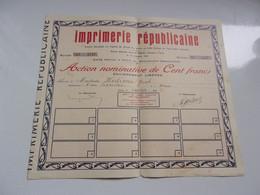 IMPRIMERIE REPUBLICAINE (1938) Oran,algérie - Non Classificati