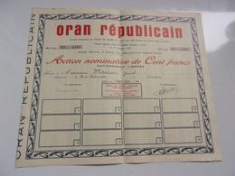 ORAN REPUBLICAIN (1938) Oran,algérie - Non Classificati