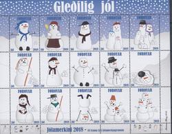 ++Q1369. Faroe Islands 2018. Christmas Seals, Complete Sheet. MNH(**) - Faroe Islands
