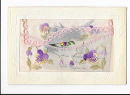 Carte Brodée - Fleurs - Pensées - édit. Non Identifié  + Verso - Embroidered