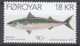 ++Faroe Islands 2018. NORDEN. Fish. AFA 913. Michel 923. MNH(**) - Faroe Islands