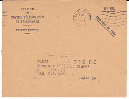 FRANCE Lettre En Franchise CCP 1943 Machine FRANKERS CHEQUES POSTAUX PARIS 5 Lignes Ondulées - Annullamenti Meccanici (pubblicitari)