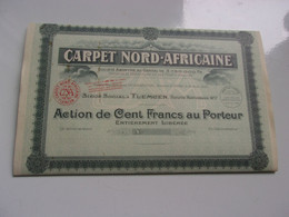 CARPET NORD-AFRICAINE (100 Francs) TLEMCEN ALGERIE (1939) - Unclassified