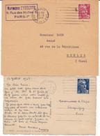 FRANCE Lot De 2 Plis 1948 Et 1949 Machine FRANKERS SECAP PARIS GARE DE L'EST Flammes 7 Lignes Droites Sur Gandon - Annullamenti Meccanici (pubblicitari)
