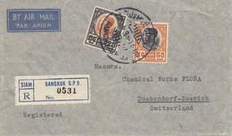 Thailand 1938: Registered Air Mail Bangkok To Dübendorf/Zürich - Thailand