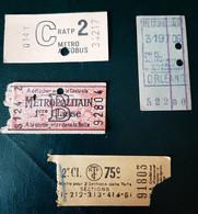 4 Tickets Métro  Métropolitain - Non Classés