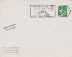 FRANCE Lettre 1963 Machine SECAP TàD Hexagonal 38 LES DEUX ALPES ISERE Sur Marianne Moissonneuse 0,10 Ski Soleil - Annullamenti Meccanici (pubblicitari)