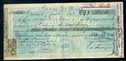 Fiscaux  (fiscal) - Marcophilie - Lettre De Change De La S. G. D'Algérie à Tunis Du 15/01/1898 - Annulation TORTUE - Revenue Stamps