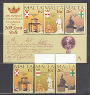 Malta 1997 - 200th Anniversary Of The City Survey Of Zabbar, Siggievi And Zejtun, Mi-Nr. 1005/07+Bl. 15, MNH** - Malta