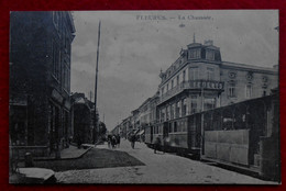 CPA Fleurus 1927- La Chaussée - Tram - Fleurus