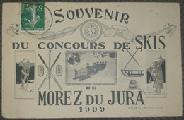 Carte Postale Animée Franche Comté Jura Morez Du Jura 1909 Souvenirs Du Concours De Skis Luge L'éclair Paget Lunettes - Morez
