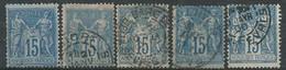 France N° 90 Obl. ( Lot X5 ) - 1876-1898 Sage (Type II)