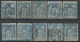 France N° 90 Obl. ( Lot X10 ) - 1876-1898 Sage (Type II)
