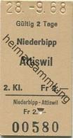 Schweiz - Niederbipp Attiswil - Fahrkarte 1968 - Europe