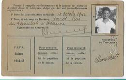 Beaune - Licence De Football - Fils De France - 1942/43 - Marechal Camille - Altri