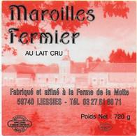 ETIQUETTE DE FROMAGE NEUVE AUTOCOLLANT MAROILLES FERMIER FERME DE LA MOTTE LIESSIES NORD - Cheese