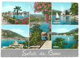 A6373 Saluti Da Como - Lago Fontana Lungolago Funicolare - Panorama Vedute Multipla / Viaggiata 1965 - Como