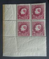 BELGIE  1929  Grote Montenez    Nr. 291 B  Blok Van 4 Met Hoekbladboord   Tand. 14    Postfris **       CW 140,00 - 1929-1941 Big Montenez