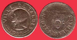 ** JETON  10 C.  TARBES  1917 ** - Monetary / Of Necessity