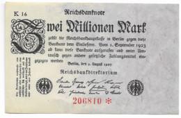 Billet Allemand De 2 000 000 Mark    - 1923 - 2 Millionen Mark