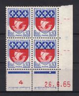 TIMBRE ARMOIRIES DE PARIS  N° 1354B NEUF ** En BLOC DE 4 Avec COIN DATE Du 26.6.65 (1965) - 1960-1969