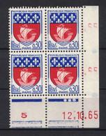 TIMBRE ARMOIRIES DE PARIS  N° 1354B NEUF ** En BLOC DE 4 Avec COIN DATE Du 12.10.65 (1965) - 1960-1969