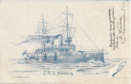 """AK POSTCARD WW1 AUSTRIA K.U.K. KRIEGSMARINE - S.M.S. """" HABSBURG """" - LIT. V. STRANSCHI - TRIESTE - PRIMI '900 - F70 - Warships"""
