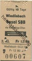 Schweiz - Wiedlisbach Basel Via Niederbipp-Olten Und Zurück - Fahrkarte 1968 - Europe