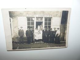 CARTE PHOTO COMMERCE LECOMTE CHARCUTIER DEBUT 1900 A LOCALISER - Ohne Zuordnung