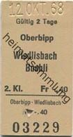 Schweiz - Oberbipp Wiedlisbach Buchli - Fahrkarte 1968 - Europe